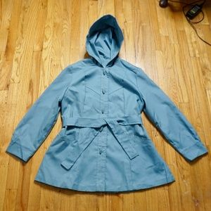 VINTAGE Blue/Grey Jacket with Hood/Tie Waist (M)